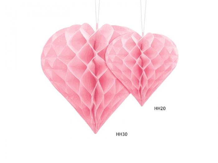 Decoratiune suspendata in forma de Inima roz, 30cm 3