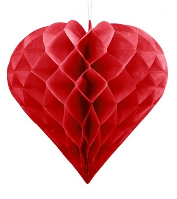 Decoratiune suspendata in forma de Inima rosie, 20cm 0