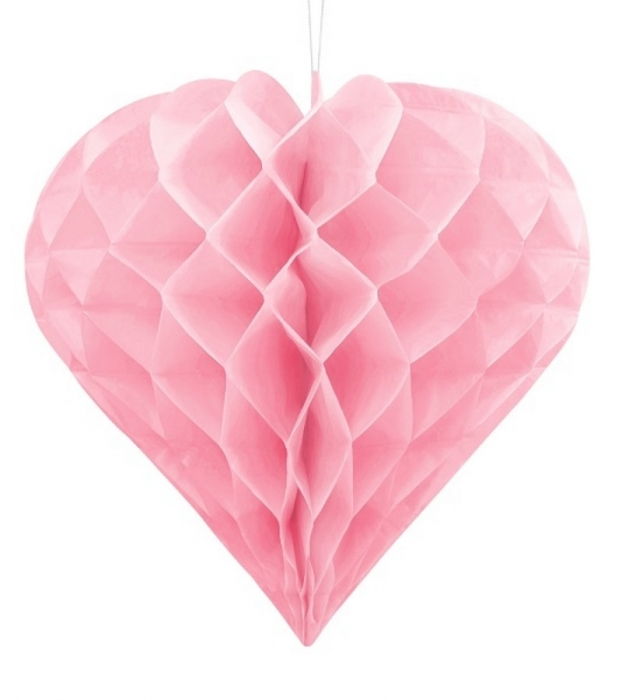 Decoratiune suspendata in forma de Inima roz, 30cm 1