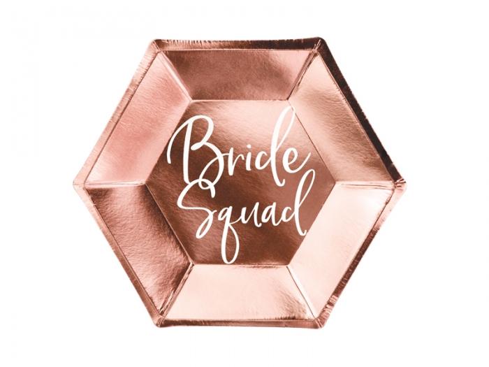Farfurii de hartie Bride squad, rose gold, 23cm 0