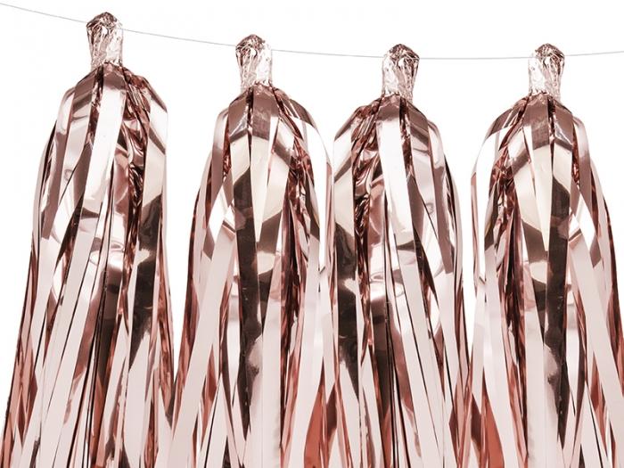 Ghirlanda ciucuri roz auriu, 12 ciucuri, 1.5 m lungime 5