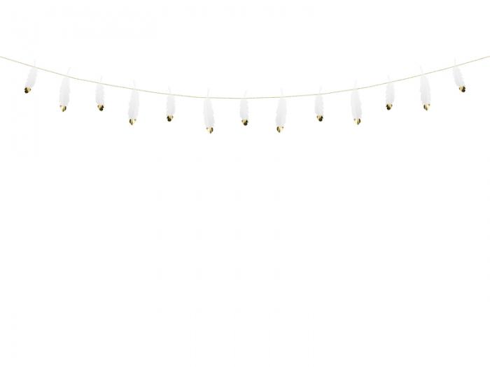 Ghirlanda pene albe cu capete metalice aurii, 1.6 m lungime 5