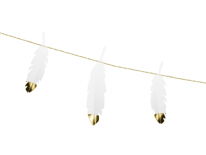 Ghirlanda pene albe cu capete metalice aurii, 1.6 m lungime 1