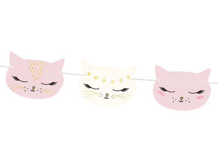 Ghirlanda pisicute, aniversare fetite, mix, 1.4m 1