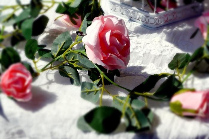 Ghirlanda trandafiri roz (1.75m) 4