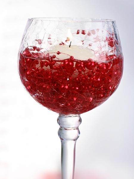Ghirlande perla de culoare rosie pentru decor masa evenimente, 1.3 m. 1