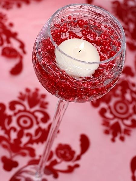 Ghirlande perla de culoare rosie pentru decor masa evenimente, 1.3 m. 0