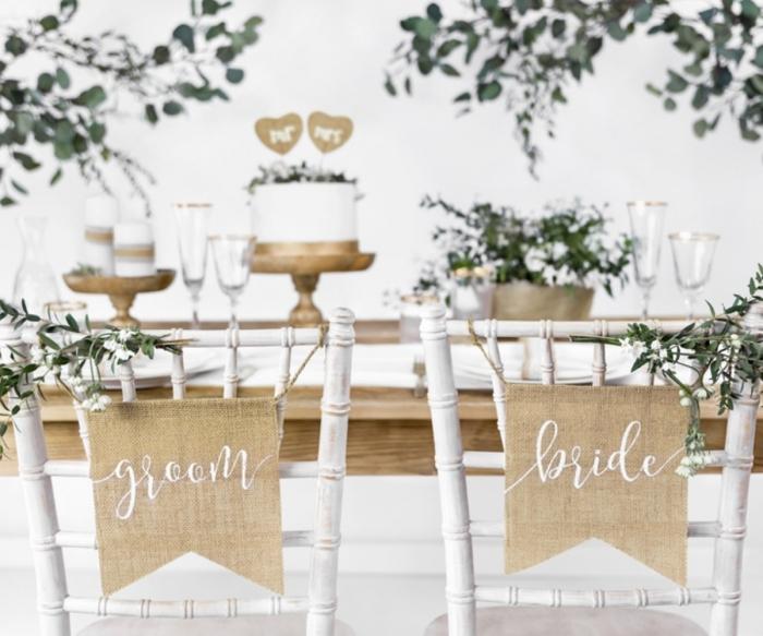 Indicatoare scaun miri din panza cu inscripții albe Bride & Groom 0