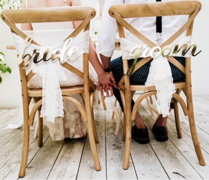 Indicatoare scaun Bride&Groom auriu 0