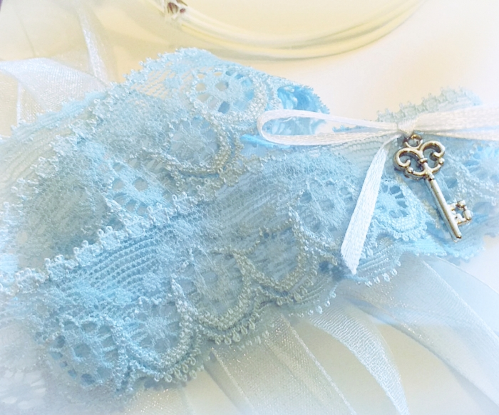 Jartiera dantela bleu cu pandativ cheita 2