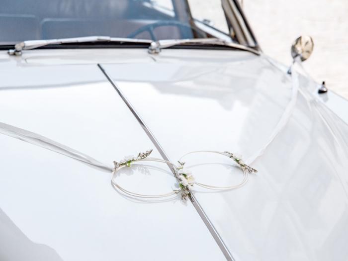 Kit decoratiune masina nunta, alb (ratan) 1