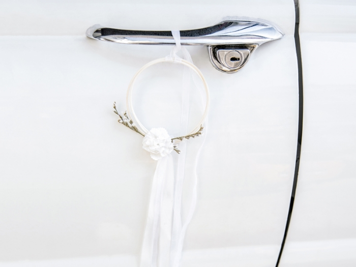 Kit decoratiune masina nunta, alb (ratan) 4