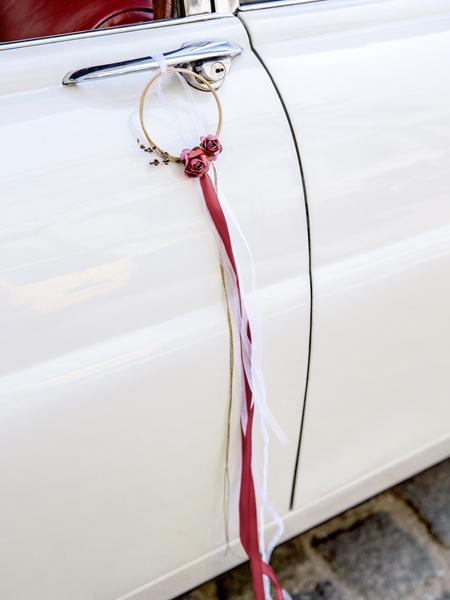 Kit decoratiune masina nunta, rosu intens 6