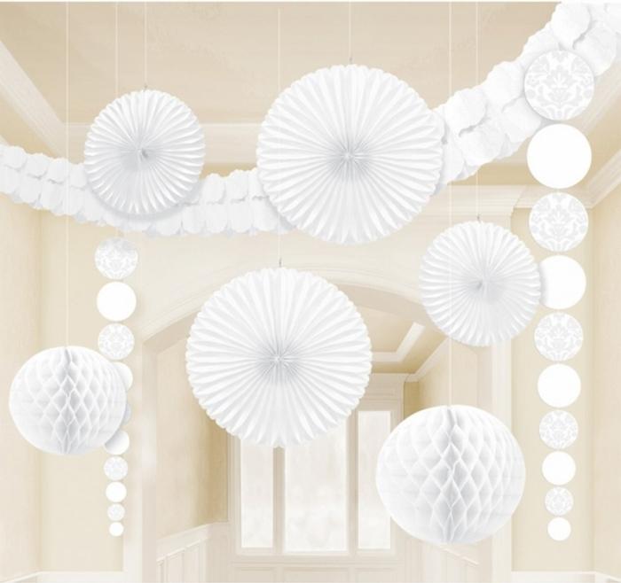 Kit ornamente suspendate alb damasc 1
