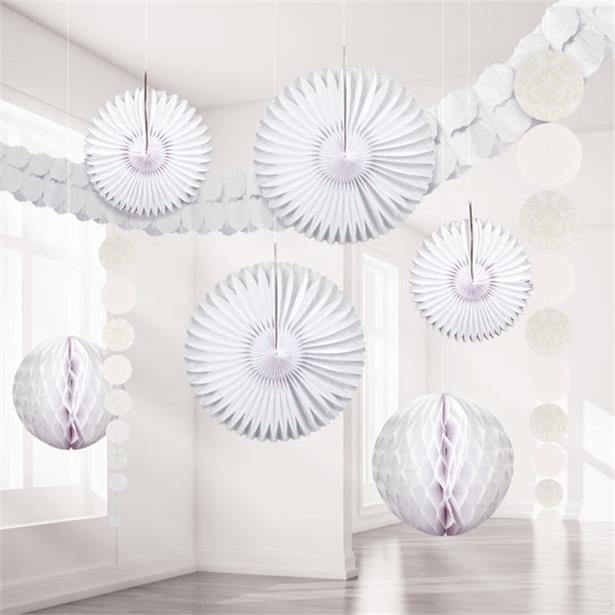 Kit ornamente suspendate alb damasc 0