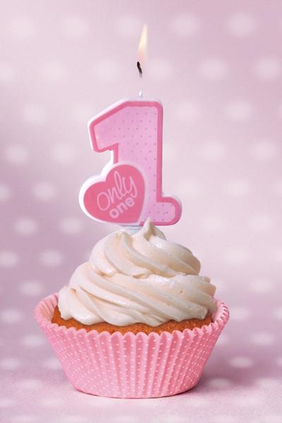 Lumanare zi nastere 1 an fetite, roz, 8cm roz, 8cm [2]