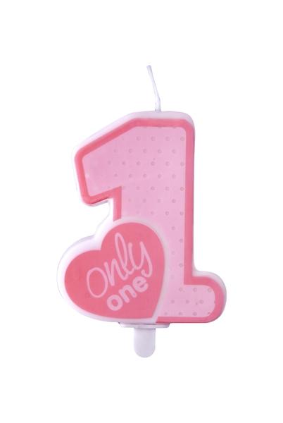 Lumanare zi nastere 1 an fetite, roz, 8cm roz, 8cm [1]
