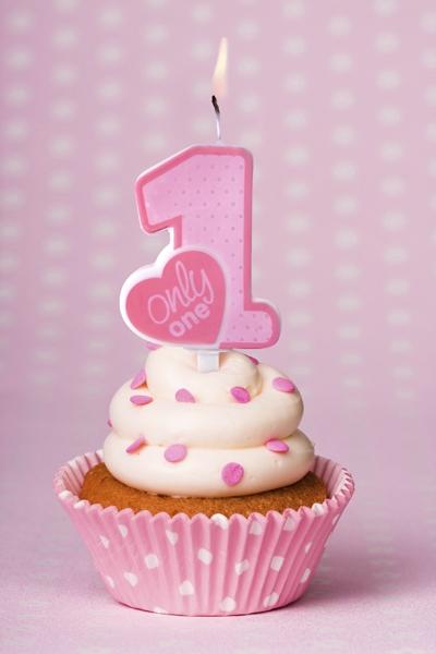Lumanare zi nastere 1 an fetite, roz, 8cm roz, 8cm [0]