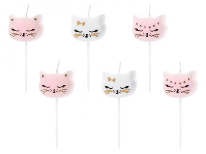 Lumanarele zi de nastere Cat, pentru fetite, mix, 2cm, 6 buc. 0