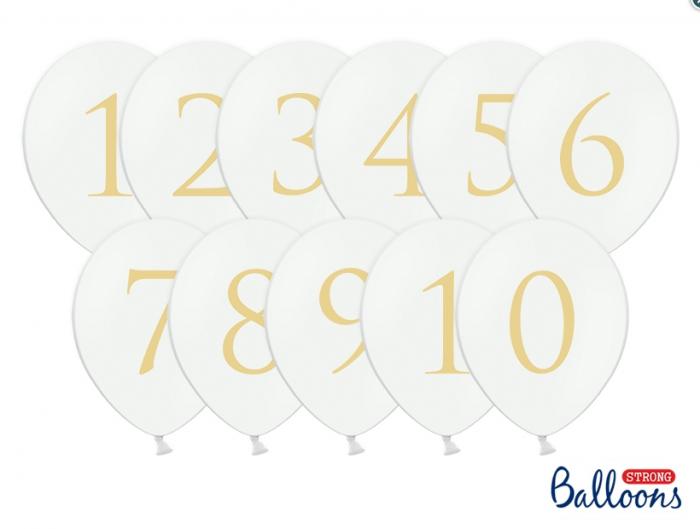 Numere masa Baloane 30cm, Pastel Pure albe (1 pach / 11 buc.) 3
