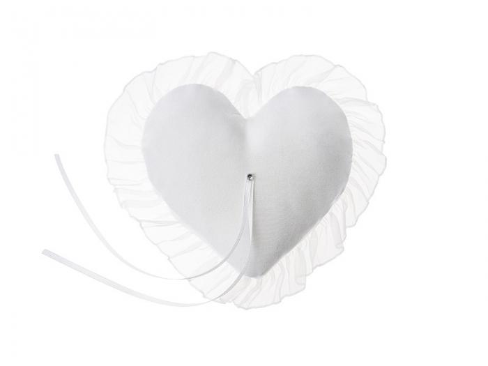 Pernuta verighete Heart, alba, 13x13cm 2