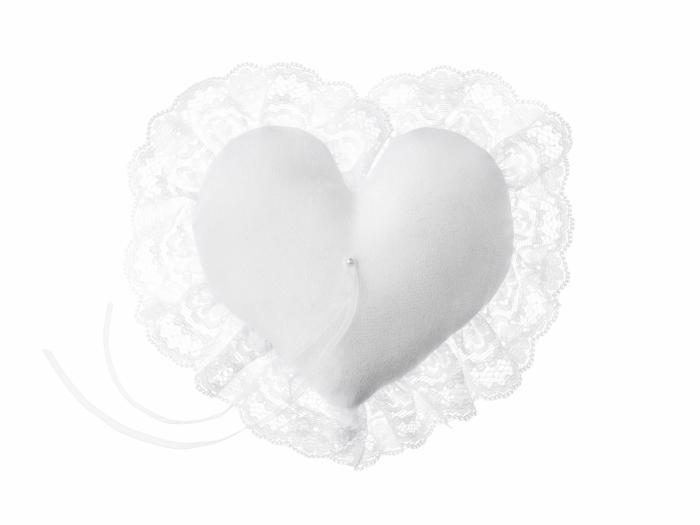 Pernuta verighete Inima, alb, 13x13cm 2