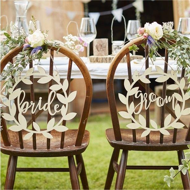"""Placute scaun miri """"Bride&Groom"""" din lemn 0"""