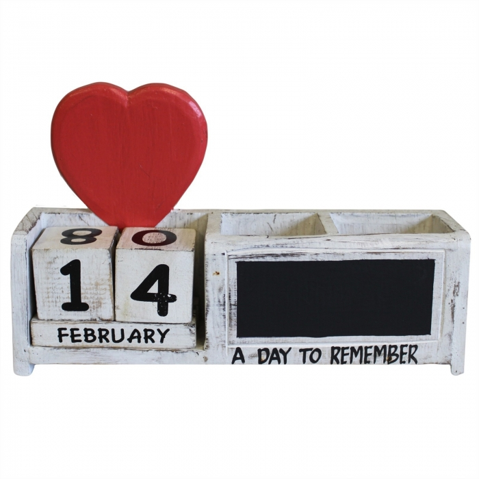 Calendar artizanal & suport stilou (lemn pictat) 0