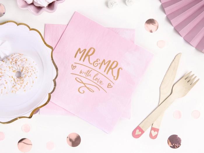 Servetele de hartie roz cu inscriptie aurie Mr & Mrs 0