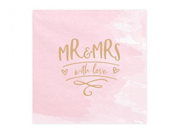 Servetele de hartie roz cu inscriptie aurie Mr & Mrs 2