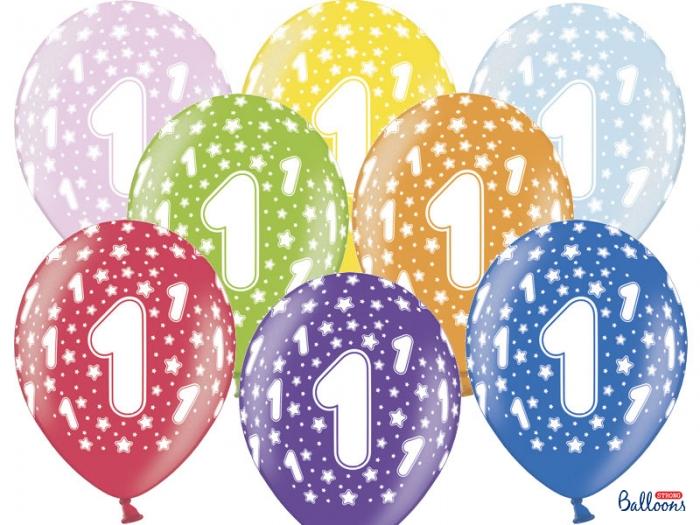 Set 10 baloane 30cm, prima aniversare, Mix Metalic 0