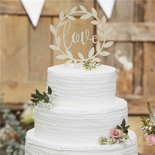 Cake topper rustic din lemn 14 cm 0