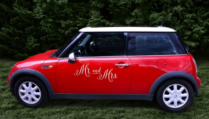 Wedding day sticker masina nunta - Mr. and Mrs. 3