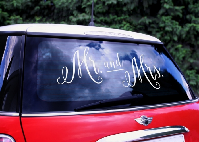Wedding day sticker masina nunta - Mr. and Mrs. 1