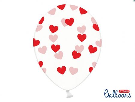 Set 10 baloane imprimate Inimioare rosii, 30cm1