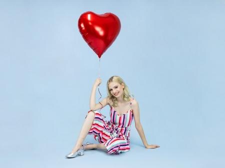 Balon folie metalică in forma de Inima, roșu, diametru aprox. 61 cm.2