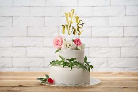 Cake topper Mr&Mrs, auriu 25.5cm1