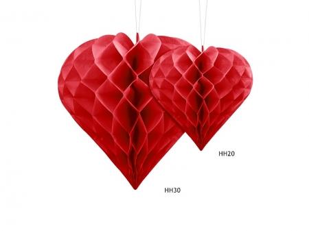 Decoratiune suspendata in forma de Inima rosie, 20cm3