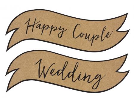 Placute inscriptionate pentru nunta, carton craft (1 pach/ 2 buc)6