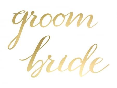 Indicatoare scaun Bride&Groom auriu [5]