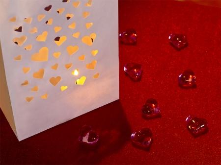 Lampioane lumanari Heart Spread, 11.5 x 7 x 19cm (1 pachet / 10 buc.)0