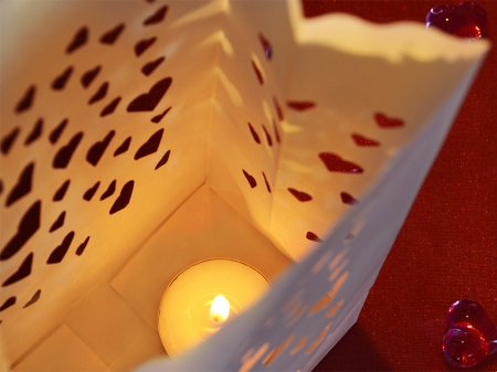 Lampioane lumanari Heart Spread, 11.5 x 7 x 19cm (1 pachet / 10 buc.)2