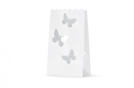 Set Lampioane pentru lumanari cu perforatii in forma de fluturasi, 15 x 9 x 26cm (1 pach / 10 buc)2