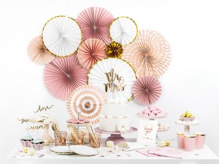 Evantaie decorative, mix de culori roz-auriu1