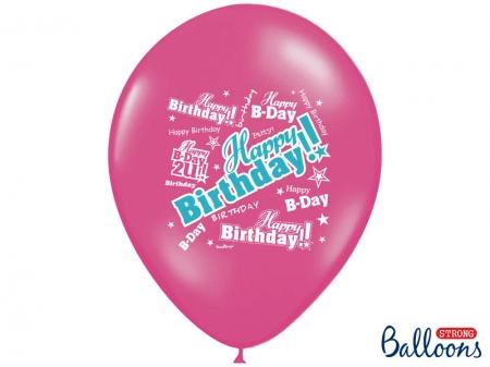 Set Baloane multicolore 30cm, Happy Birthday, Pastel Mix 10 buc.6