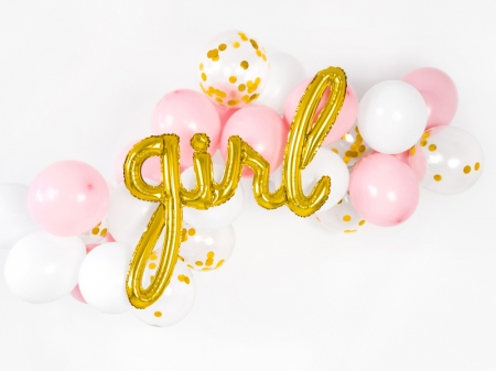 Balon Botez Fetite Girl, auriu, 77x70cm0