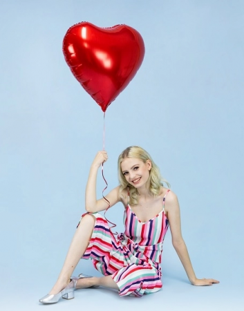 Balon folie metalică in forma de Inima, roșu, diametru aprox. 61 cm.0