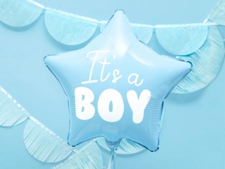 Balon Botez Baieti Star - It's a boy, 48cm, bleu0