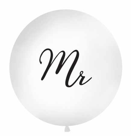 "Balon gigant ""Mr"" alb (diam aprox. 1 metru)0"