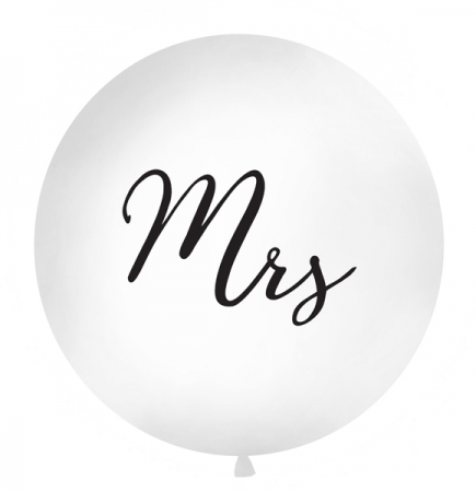 "Balon gigant ""Mrs"", alb (diametru aprox. 1 metru)0"